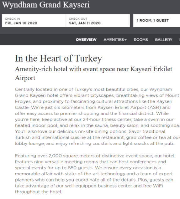 Wyndham Grand Kayseri Property Page